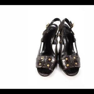 Tory Burch Womens Slingback Sandals Heels Leather